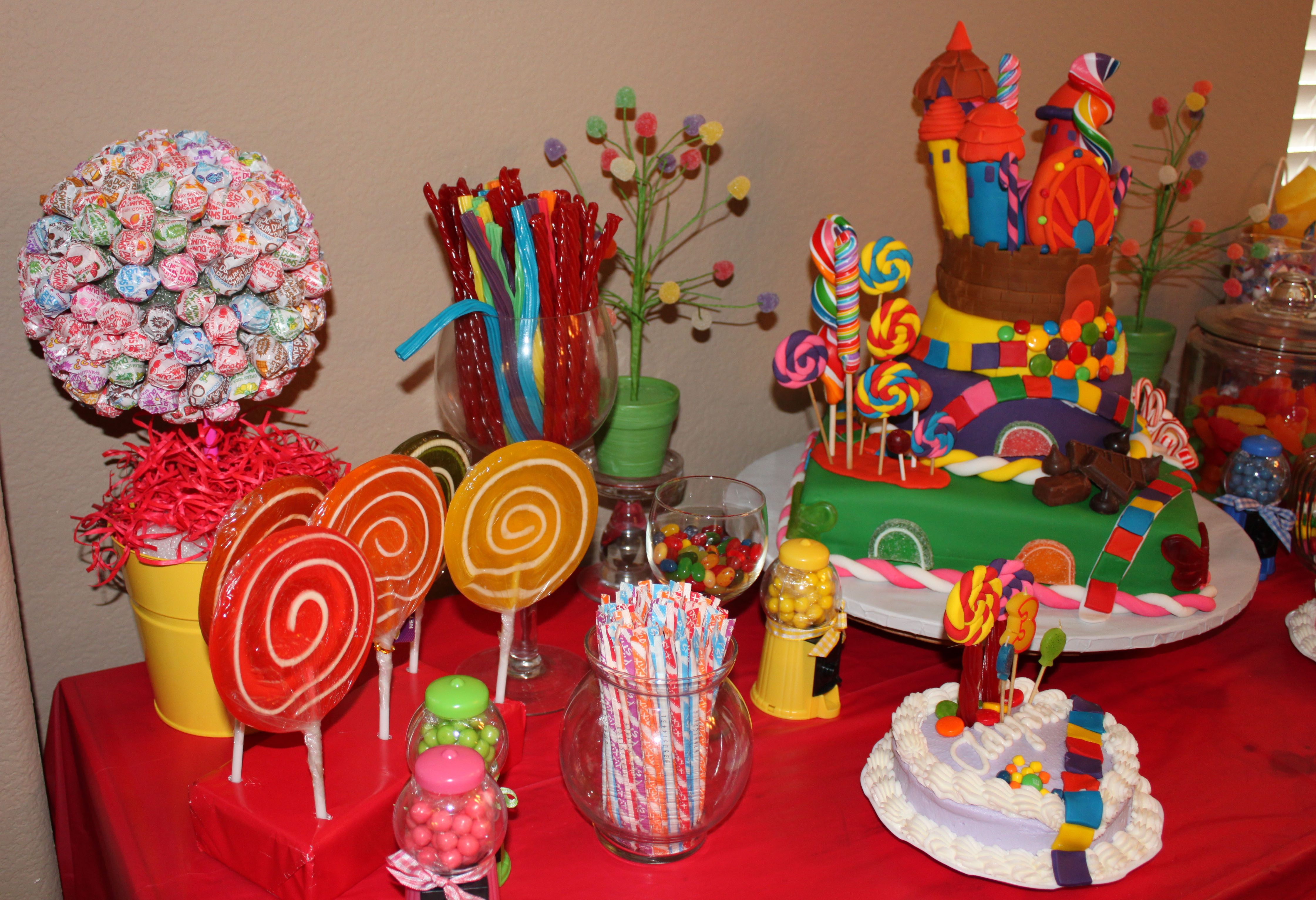 Here is the candy table set up with the cake and the favor bags.