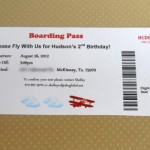 airplane boarding pass invitation