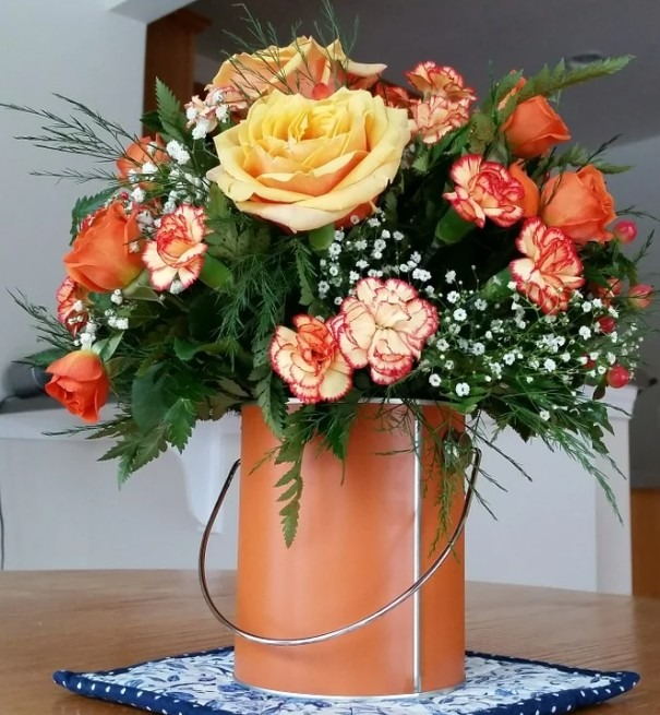 Flowers in a pail