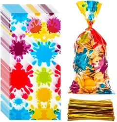 50 Pieces Artist Party Cello Bags Colorful Paint Cellophane Bags OPP Artist Paint Treat Bags Goody Candy Bags Gift Bags