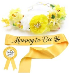 Baby Shower Mom to Bee Sash & Flower Crown & Daddy to Bee Pin Kit