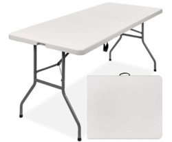 Best Choice Products 6ft Indoor Outdoor Heavy Duty Portable Folding Plastic Dining Table w/Handle, Lock