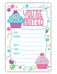 Cupcake Theme Birthday Party Invitations - Fill In Style (20 Count)