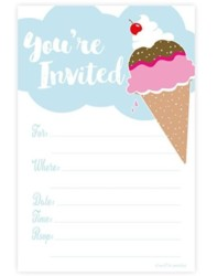Ice Cream Party Invitations - Fill In Style (20 Count) With Envelopes