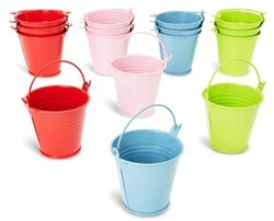 Juvale Mini Buckets for Crafts and Party Favors, 4 Colors