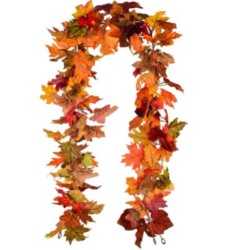 Lvydec 2 Pack Fall Maple Garland - 5.9ft/Piece Artificial Fall Foliage Garland Colorful Autumn Decor