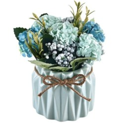 Shiny Flower Artificial Hydrangea Bouquet with Small Ceramic Vase Fake Hydrangea Flower Potted Artificial Fake Variety Silk Flower Bonsai