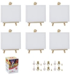Stretched Canvas for Painting-8x10 Inch with Natural Wood Display Easel Kit