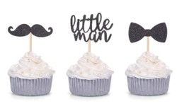 24 PCS Black Glitter Little Man Mini Mustache Bowtie Cupcake Toppers for Baby Shower Kid s Birthday Party Decorations