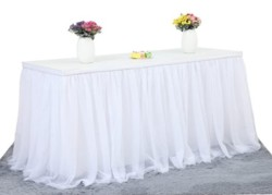 6ft White Tulle Table Skirt for Rectangle or Round Table Tutu Table Skirt Table Cloth