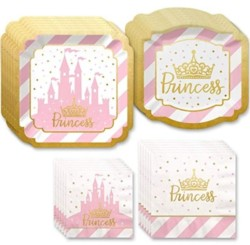 Big Dot of Happiness Little Princess Crown with Gold Foil - Pink and Gold Princess Baby Shower