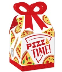 Big Dot of Happiness Pizza Party Time - Square Favor Gift Boxes - Baby Shower or Birthday Party Bow Boxes
