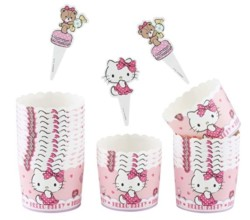 CHEFMADE Hello Kitty Girl Muffin Liners, 25Pcs 2oz Non-Stick Cupcake Paper Baking Cups