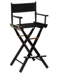 Casual Home Director s Chair ,Black Frame/Black Canvas,30  - Bar Height