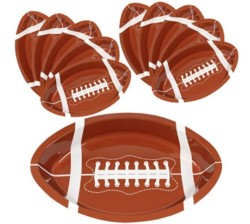 Football Serving Trays | 10 Pcs Plastic Football Snack Trays | Game Day Football Serveware | Tailgate Party Serving Platter | Football Party Decorations