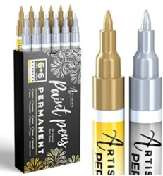 Gold & Silver Paint Pens for Rock Painting, Stone, Metal, Ceramic, Porcelain, Glass, Wood, Fabric, Canvas