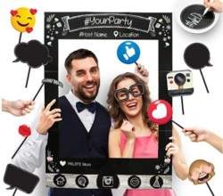 Insta-Themed Social Media Party Photo Booth Frame with Emoji & Personalized Speech Bubble Props. Great as Vintage Background Photography