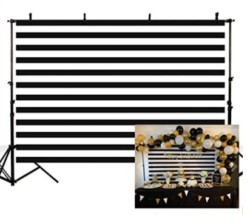 MEHOFOTO Black and White Stripes Photography Backdrop Props Happy Birthday Party Decorations