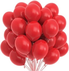 Prextex 75 Red Party Balloons 12 Inch Red Balloons with Matching Color Ribbon for Red Theme Party Decoration
