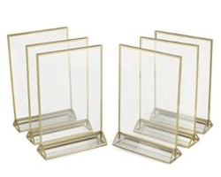 Super Star Quality Clear Acrylic Double Sided Frames Display Holder with Vertical Stand and 3mm Gold Border, 5 x 7-Inches