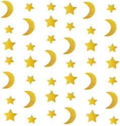 24ft Glitter Gold Twinkle Stars Crescent Paper Garlands Hanging Decorations