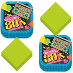 80s Party Dessert Plates and Napkins - Totally Awesome Throwback Theme