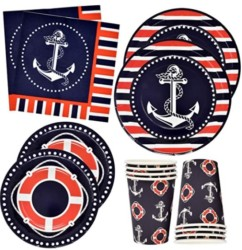 Nautical Anchor Party Supplies Set 24 9  Plates 24 7  Plate 24 9 Oz Cups 50 Luncheon Napkins Sailor Boat Ship Theme Navy Red White Striped