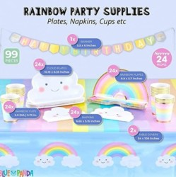 Rainbow Party Pack with Dinnerware, Tablecloth, Banner